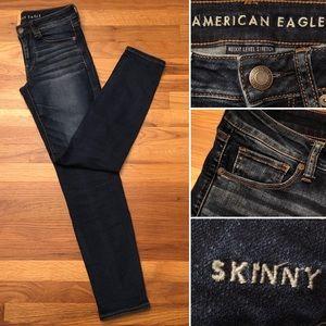 AEO Skinny Next Level Stretch Dark Denim Jeans